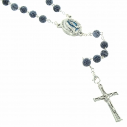 Lourdes rosary with frozen Agathe stones and a Lourdes water centerpiece