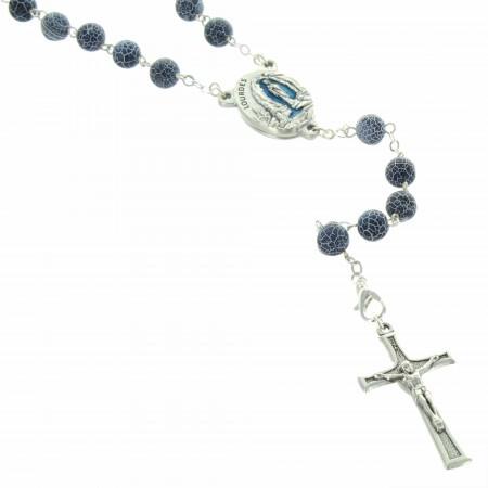 Rosario di Lourdes con pietre Agathe smerigliate e un centro con acqua di Lourdes