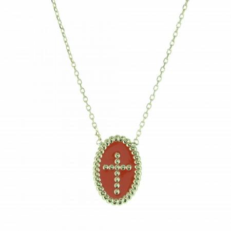 Collana placcata in oro con una medaglia a forma di croce smaltata