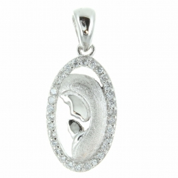 Silver openwork medal of the Virgin Mary with rhinestones