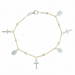 Miraculous medals Silver bracelet and crosses