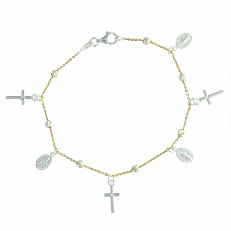 Bracelet en Argent 2 tons avec des médailles Miraculeuses et des croix