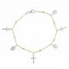 Bracciale in argento 2 toni con medaglie miracolose e croci
