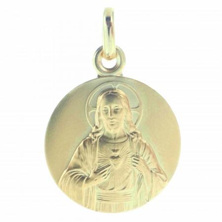 Médaille du Sacré Coeur de Jésus en Plaqué Or 18 carats