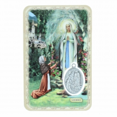 Image religieuse de Notre Dame de Lourdes avec une médaille