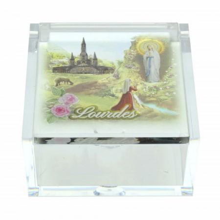 Boîte pour chapelet de Lourdes en plexiglass