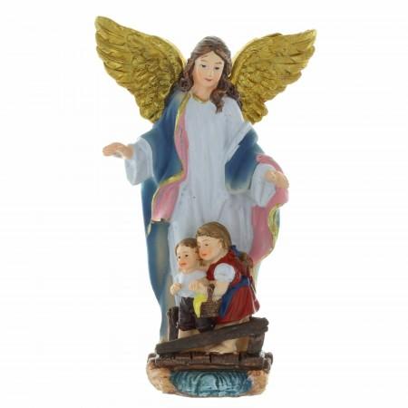 Statue Ange gardien en résine colorée 13cm