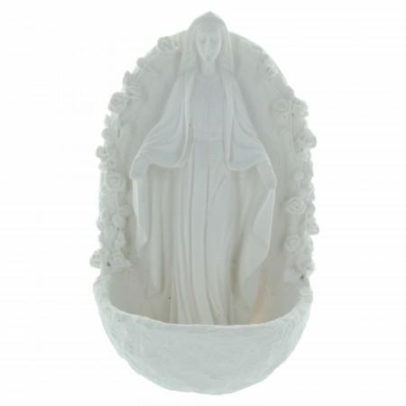Bénitier de la Vierge Miraculeuse en résine blanche 14cm