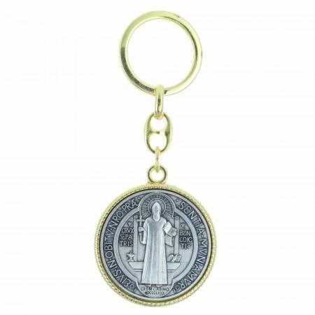 Porte-clés de Saint Benoît argenté et doré 35mm