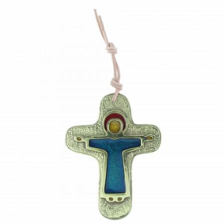 Crucifix du Christ Glorieux en bronze émaillé