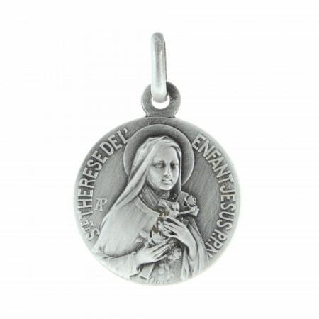 Médaille de Sainte Thérèse en métal argenté 18mm