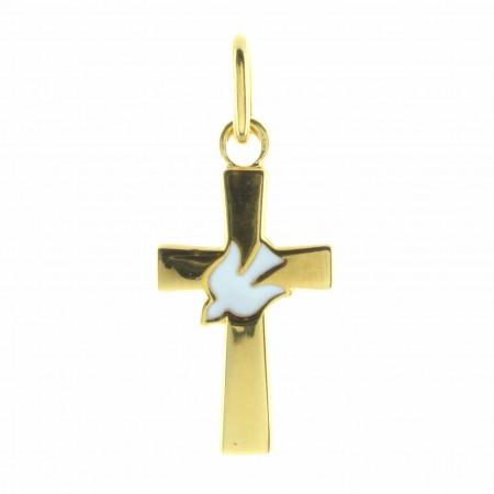 Pendentif croix en Plaqué Or avec une colombe blanche
