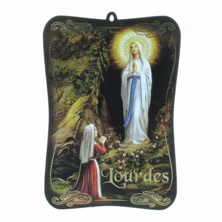 Cadre religieux de Lourdes en bois avec dorures 10x15cm