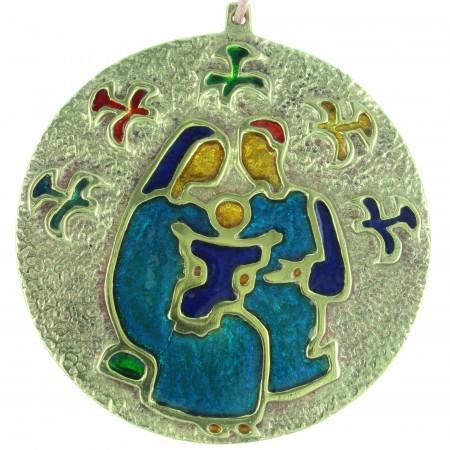 Médaille de la Sainte Famille en Bronze émaillé 8,5cm