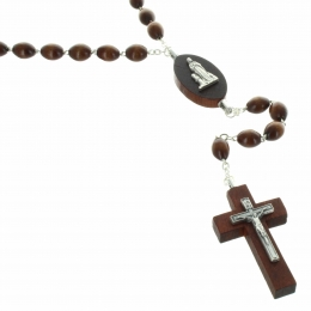 Chapelet de Lourdes avec des grains et un coeur en bois