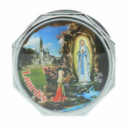 Boîte à chapelet argentée avec l'Apparition de Lourdes et Jésus Miséricordieux