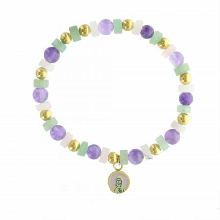 Bracelet religieux avec des perles d'améthyste, aventurine et quartz.