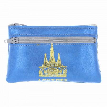 Simulated leather case purse and Basilica of Lourdes