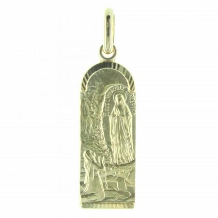 Médaille de Lourdes Plaqué Or en forme d'ogive