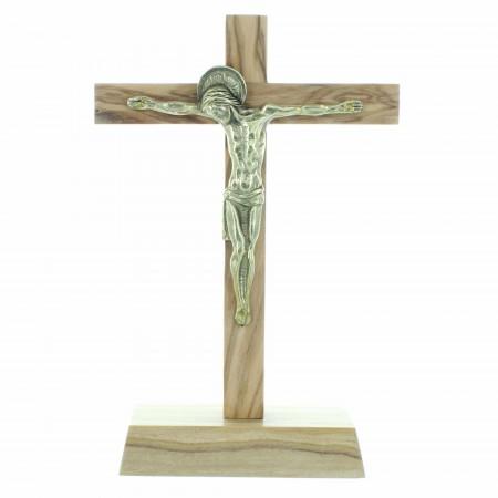 Crucifix sur socle en bois d'olivier  avec le Christ en bronze 13,5cm