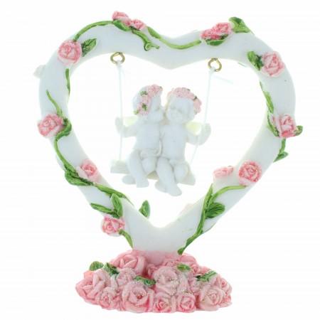 Statue de deux Anges sur une balançoire dans un coeur en résine 11cm
