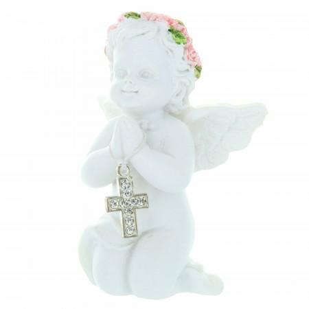 Statue d'Ange priant à genoux en résine avec une croix en strass 7cm