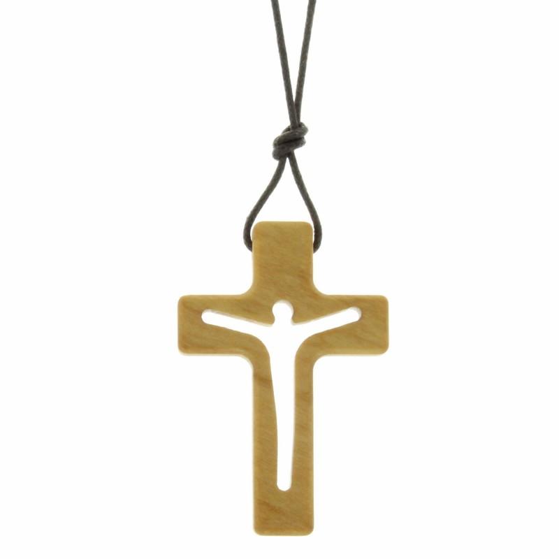 Parure avec une croix incurvée Plaqué Or et une chaîne de 45cm dorée