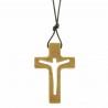 Collier religieux avec une croix en bois d'olivier ajourée