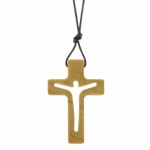 Religious necklace with an olive wood openwork cross