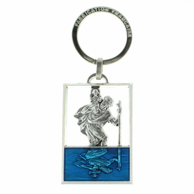 Porte-clés de Saint Christophe émaillé coloré