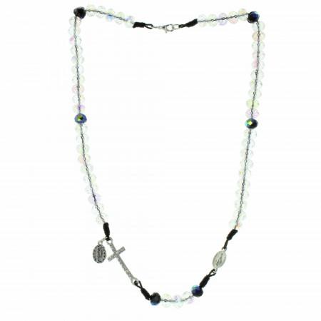 Collana rosario con la Medaglia Miracolosa e una croce di strass