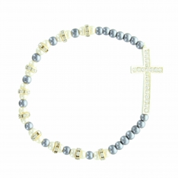 Religious bracelet with mother of pearl and hematite beads