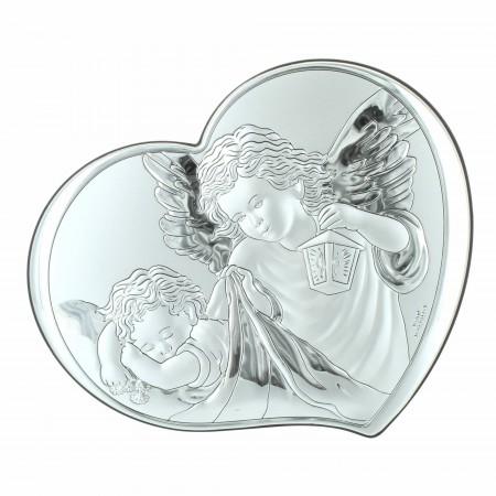 Cadre religieux en forme de coeur avec des Anges 14,5x12cm
