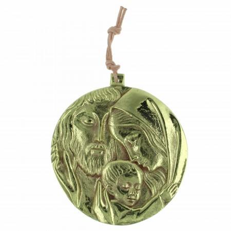 Medaglione della Sacra Famiglia in bronzo 8,5cm