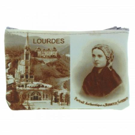 Porte-monnaie en toile décoré d'images de Lourdes