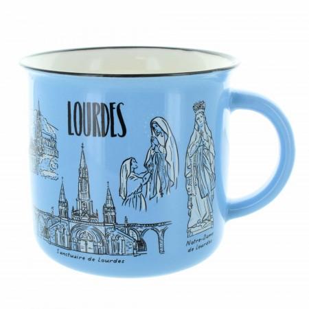 Blue ceramic mug decorated with views of Lourdes