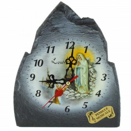Musical clock of Lourdes in Pyrenean slate 17x23cm