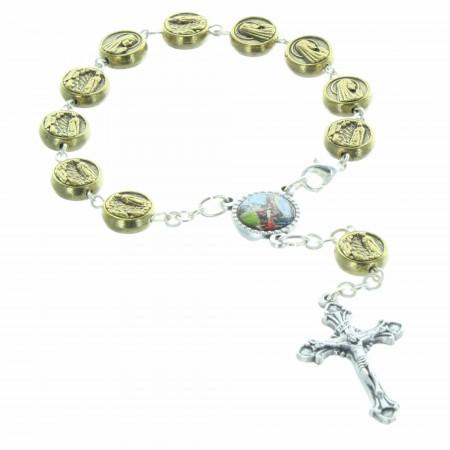 Decina Rosario di Lourdes con grani a forma di medaglia