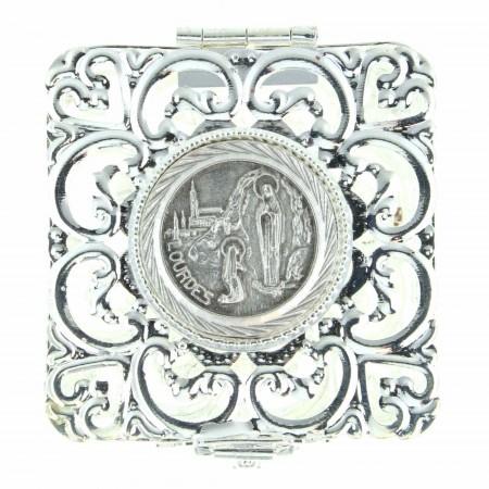 Scatola per rosario imaginetta filigrana Apparizione di Lourdes