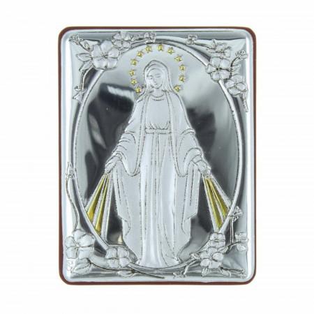 Chevalet religieux la Vierge Miraculeuse argentée 5 x 6,5 cm