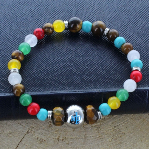 Our Lady of Lourdes Religious bracelet in natural stones