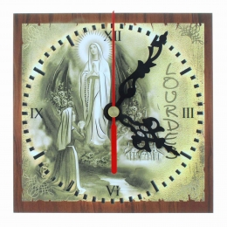 Horloge de Lourdes carrée en bois 13x13cm