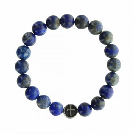 Religious bracelet with Lapis Lazuli stones