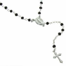 Our Lady of Grace Silver rosary with glass beads and clasp