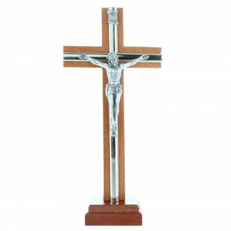 Crucifix sur socle en bois avec le Christ en métal 16cm