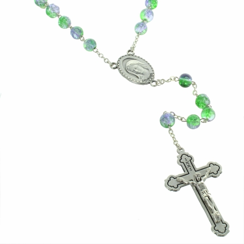 Lourdes rosary with two-tone glittering glass beads