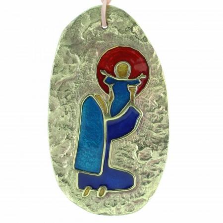 Médaillon de la Vierge à l'Enfant en Bronze émaillé 10,5cm