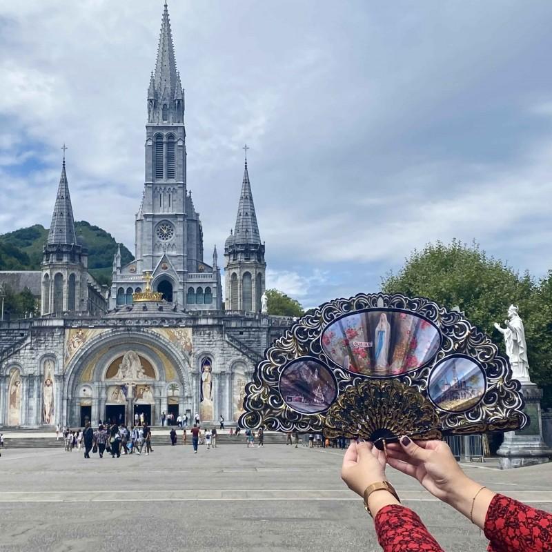 Apparition of Lourdes Fan black fabric