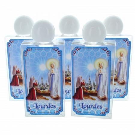 Lot de 5 bidons de 75 ml plastique avec l'eau de Lourdes et Apparition de Lourdes