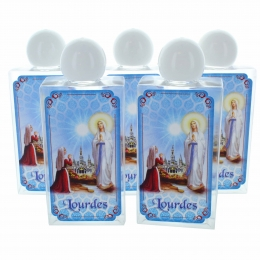 Set of five 75 ml plastic cans with Lourdes water and Lourdes Apparition